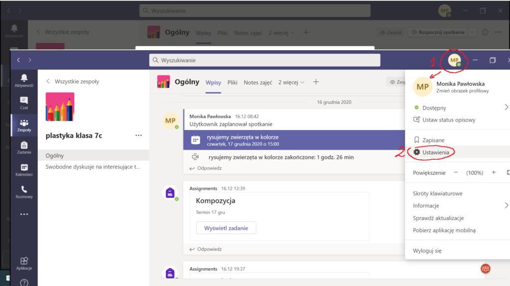 MS Teams - zrzut ekranu
